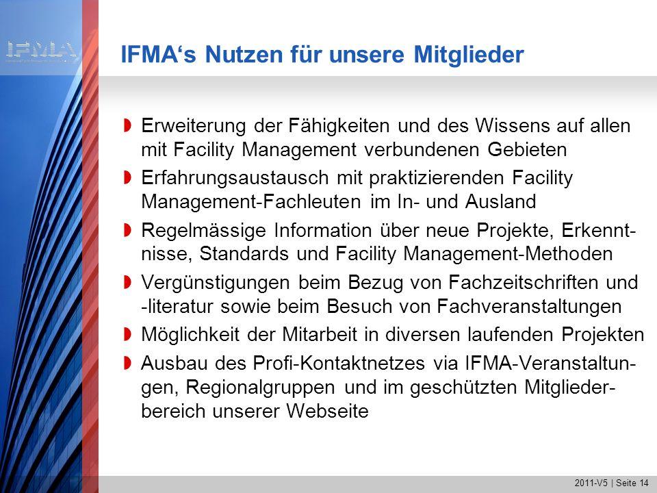 2011-V5 | Seite 14 IFMAs Nutzen für unsere Mitglieder Erweiterung der Fähigkeiten und des Wissens auf allen mit Facility Management verbundenen Gebiet