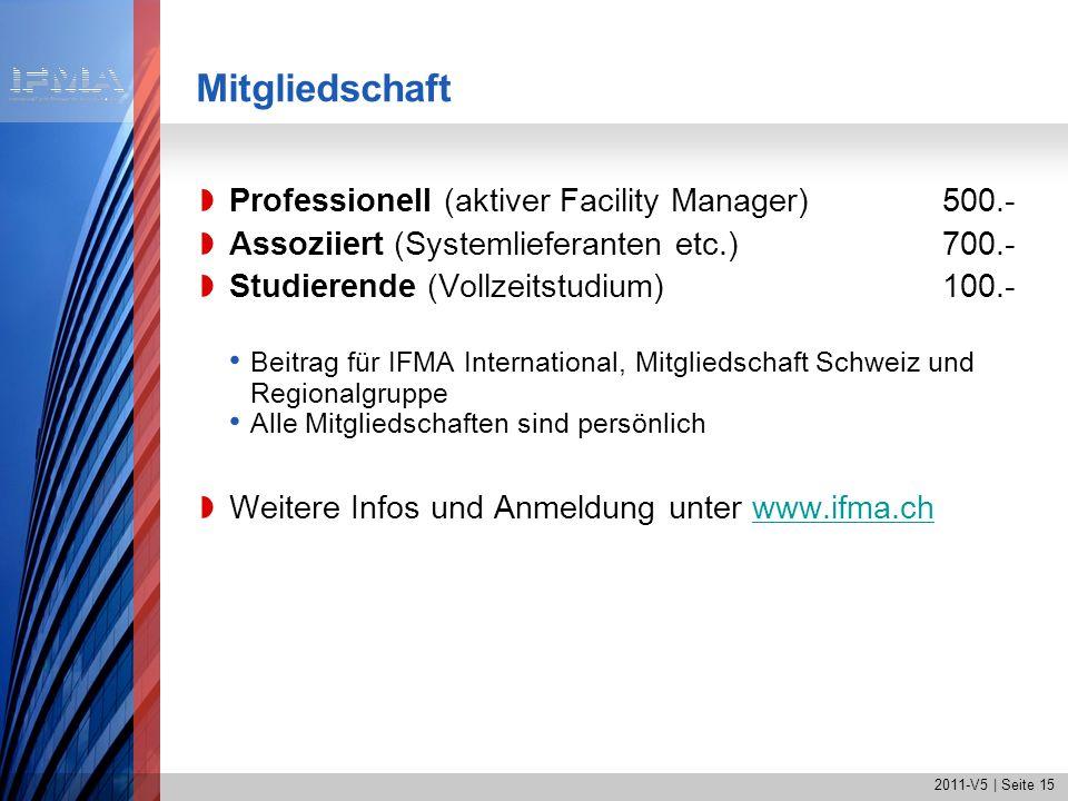 2011-V5 | Seite 15 Mitgliedschaft Professionell (aktiver Facility Manager) 500.- Assoziiert (Systemlieferanten etc.)700.- Studierende (Vollzeitstudium