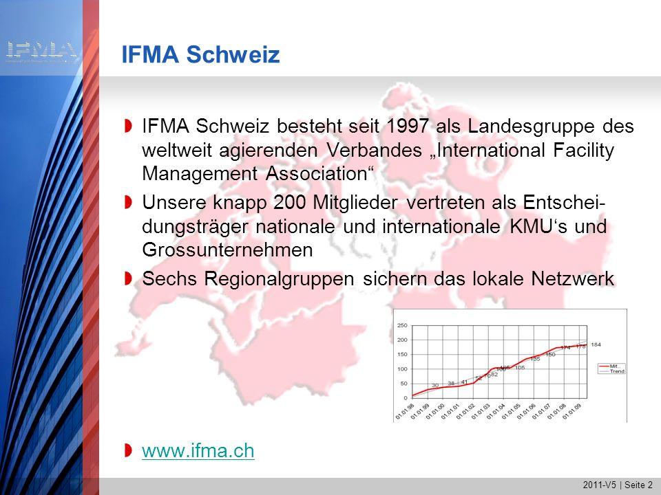 2011-V5   Seite 3 IFMA International IFMA wurde 1980 in den USA gegründet Die Headquaters befinden sich in Houston, USA IFMA ist mit rund 19500 Mitgliedern in 60 Ländern die weltweit grösste FM-Organisation IFMAs Mitglieder managen 11.3 Mrd.