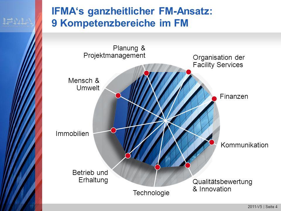 2011-V5 | Seite 4 IFMAs ganzheitlicher FM-Ansatz: 9 Kompetenzbereiche im FM Finanzen Organisation der Facility Services Planung & Projektmanagement Me