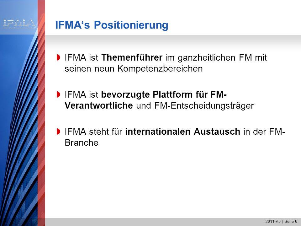 2011-V5 | Seite 6 IFMAs Positionierung IFMA ist Themenführer im ganzheitlichen FM mit seinen neun Kompetenzbereichen IFMA ist bevorzugte Plattform für