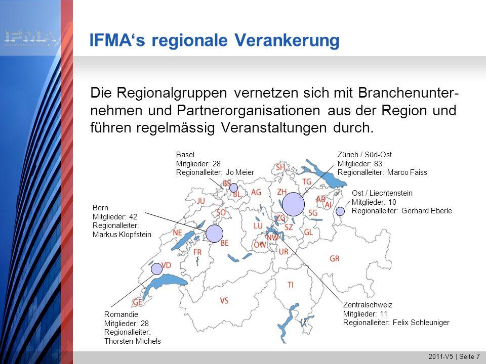 2011-V5   Seite 8 IFMA Spotlight Schweizweite Veranstaltungen zu aktuellen Topthemen IFMA Site Visit Praxisbesuch zum Thema Facility Management Insider-Informationen von Profis für Profis Beispiele: IFMA Expert Talk Moderierter Erfahrungsaustausch unter Mitgliedern zu einem Spezialthema Inhalte: Innovationen, Best Practice, Know-How Beispiele: Nachhaltigkeit und FM, Performancemanagement im FM IFMA Get together Informelle Treffen unter Mitgliedern Networking, Gedanken- und Erfahrungsaustausch IFMAs Veranstaltungen Plattformen für Networking und Wissen