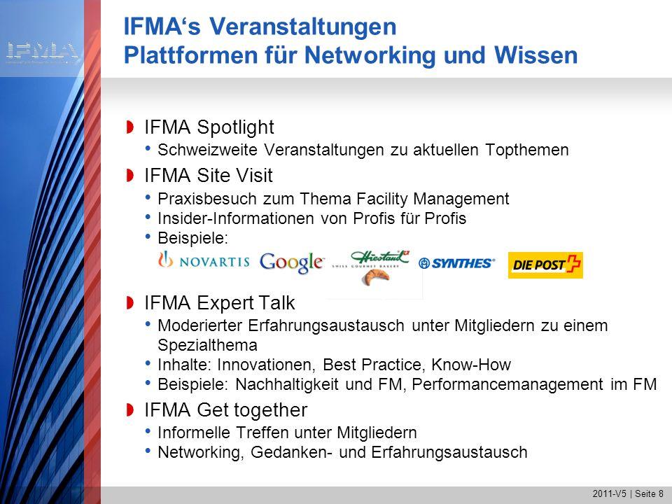 2011-V5   Seite 9 IFMAs Partner-Veranstaltungen IFMA International World Workplace European FM Conference EFMC Partnerveranstaltungen mit Vergünstigungen für IFMA- Mitglieder IAI: FM in Concert IIR Group of 15 ZHAW Life Sciences + Facility Management GNI (Gebäude Netzwerk Initiative) EuroFM