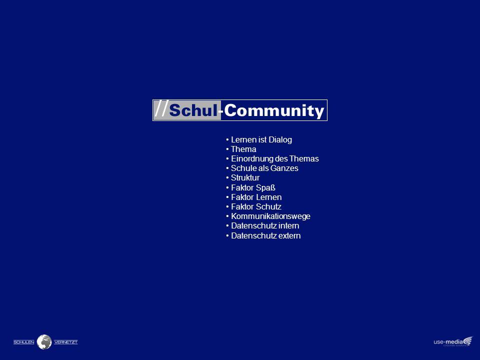 Lernen ist Dialog Thema Einordnung des Themas Schule als Ganzes Struktur Faktor Spaß Faktor Lernen Faktor Schutz Kommunikationswege Datenschutz intern