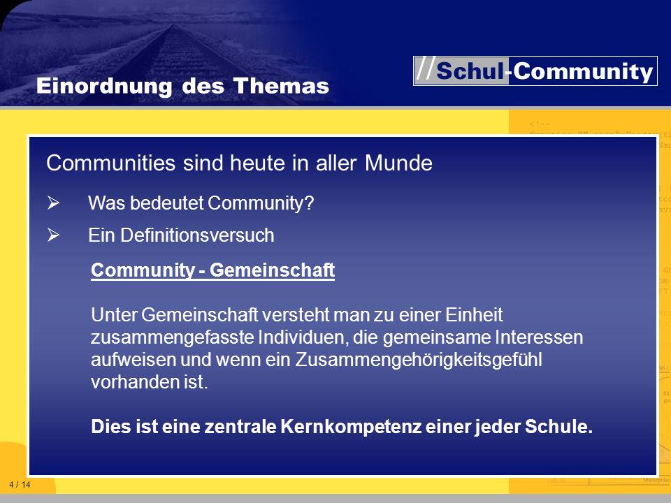 Einordnung des Themas Community - Gemeinschaft Unter Gemeinschaft versteht man zu einer Einheit zusammengefasste Individuen, die gemeinsame Interessen