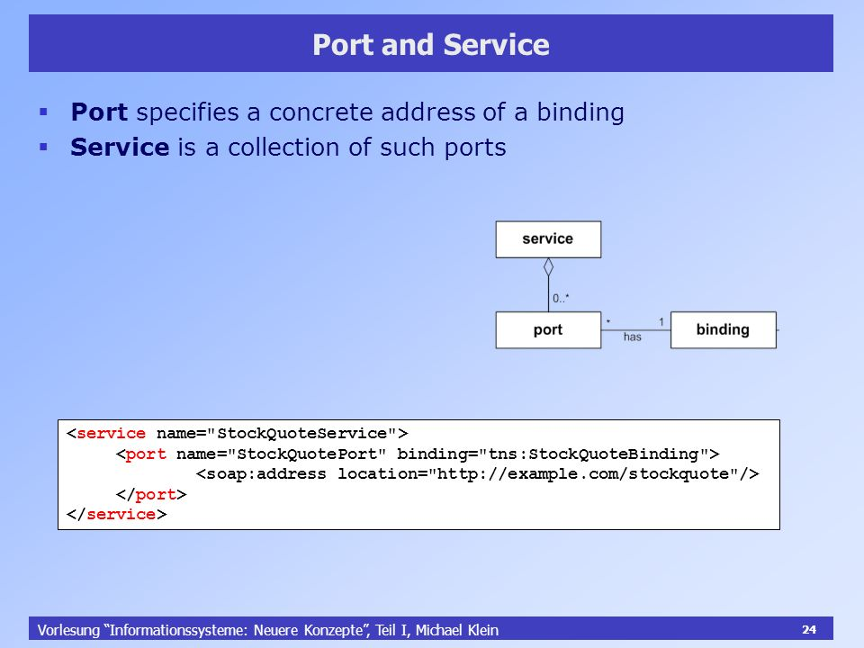 24 Vorlesung Informationssysteme: Neuere Konzepte, Teil I, Michael Klein 24 Port and Service Port specifies a concrete address of a binding Service is a collection of such ports