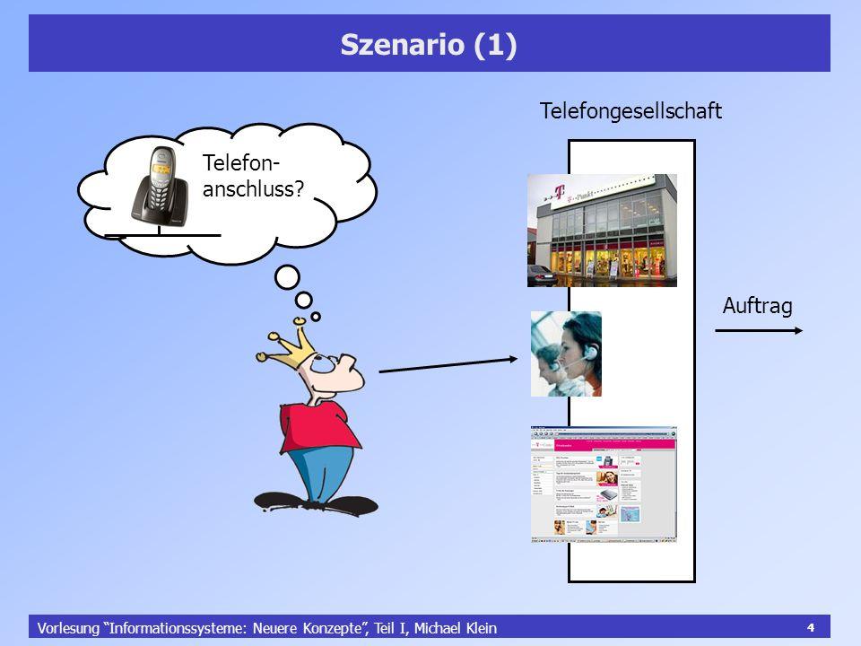 4 Vorlesung Informationssysteme: Neuere Konzepte, Teil I, Michael Klein 4 Szenario (1) Telefon- anschluss? Telefongesellschaft Auftrag