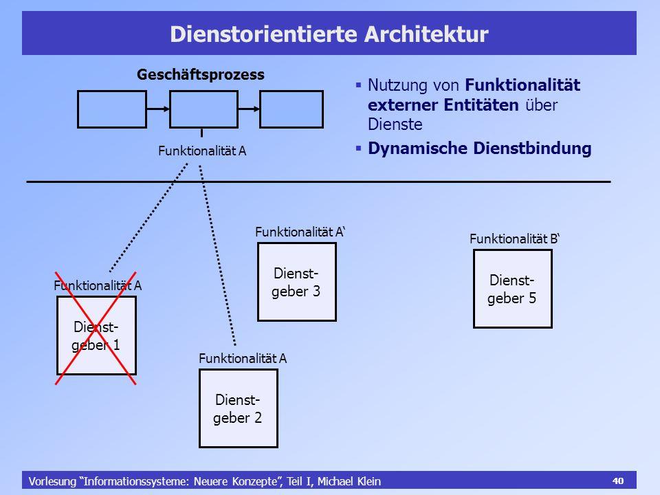 40 Vorlesung Informationssysteme: Neuere Konzepte, Teil I, Michael Klein 40 Dienstorientierte Architektur Geschäftsprozess Funktionalität A Dienst- ge