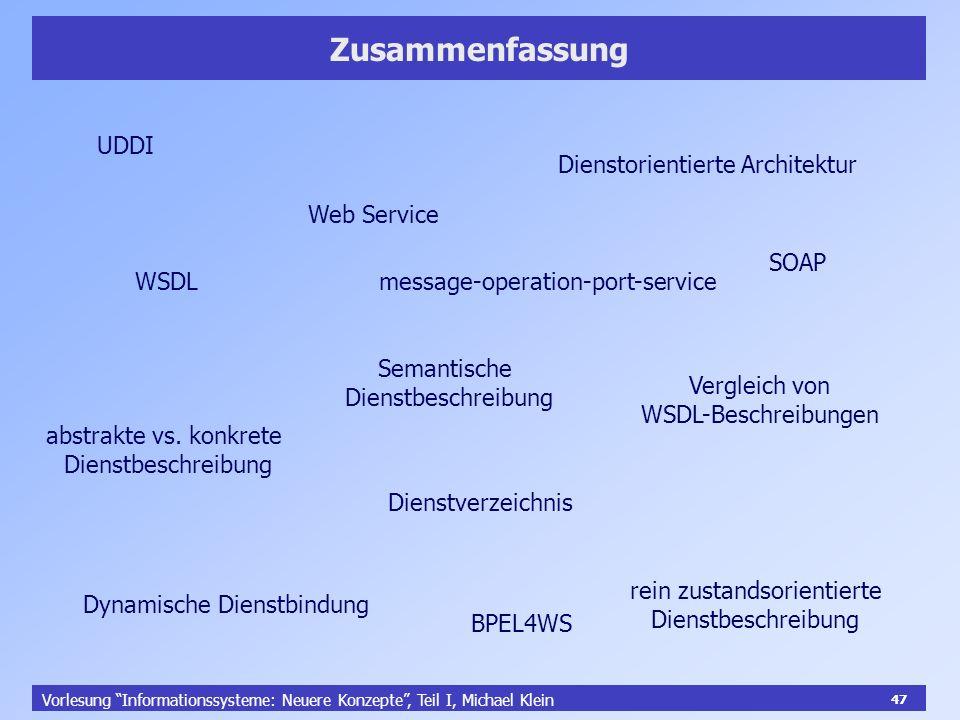 47 Vorlesung Informationssysteme: Neuere Konzepte, Teil I, Michael Klein 47 Zusammenfassung Dienstorientierte Architektur WSDL SOAP UDDI Semantische D