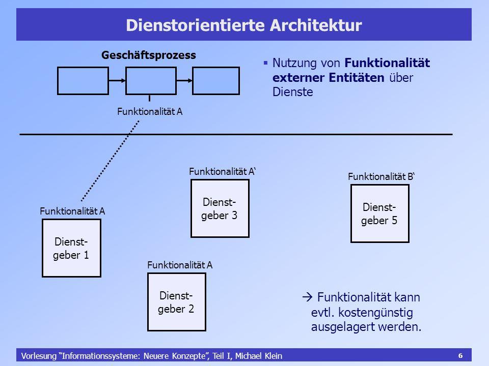 6 Vorlesung Informationssysteme: Neuere Konzepte, Teil I, Michael Klein 6 Dienstorientierte Architektur Geschäftsprozess Funktionalität A Dienst- gebe