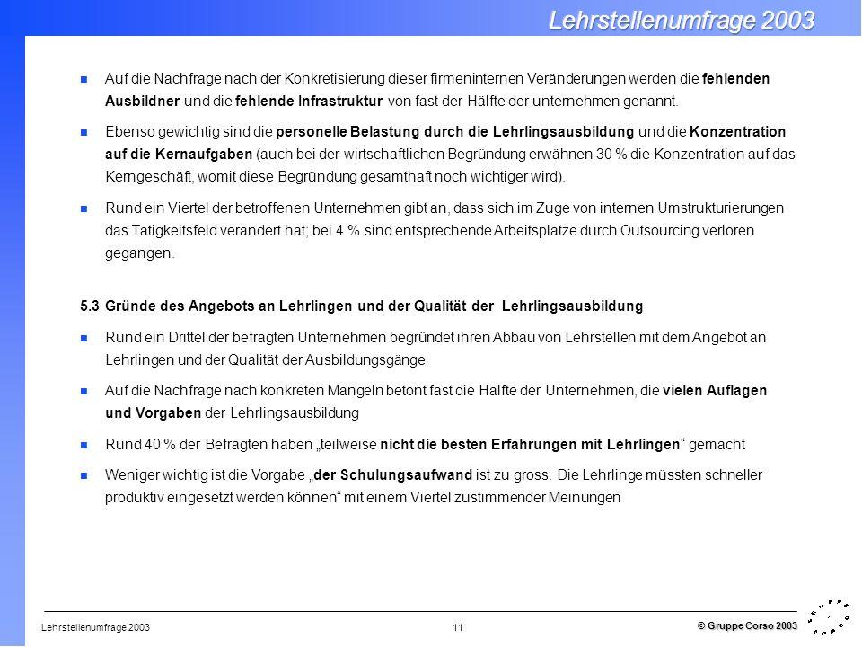 Lehrstellenumfrage 2003 © Gruppe Corso 2003 11 Auf die Nachfrage nach der Konkretisierung dieser firmeninternen Veränderungen werden die fehlenden Aus