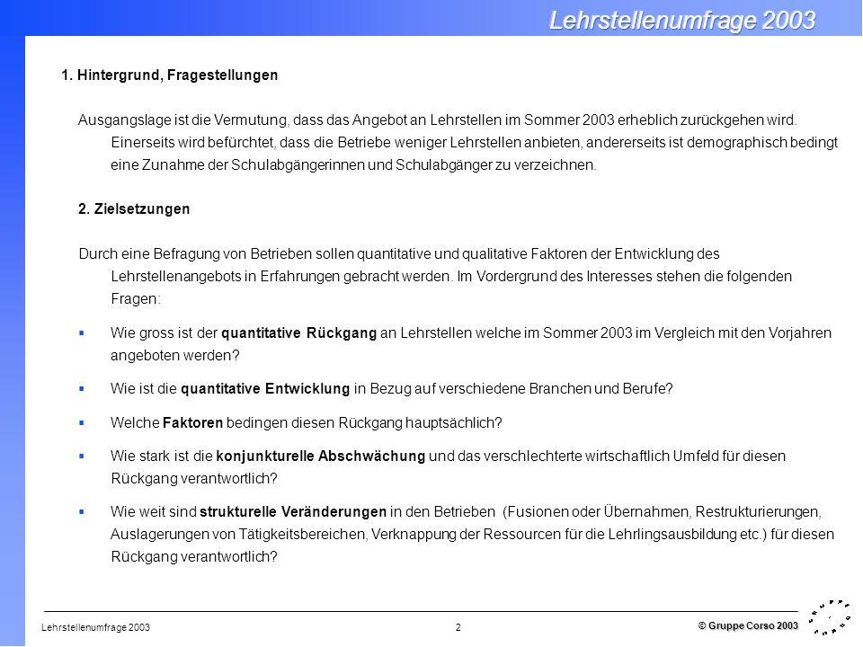 Lehrstellenumfrage 2003 © Gruppe Corso 2003 2 1. Hintergrund, Fragestellungen Ausgangslage ist die Vermutung, dass das Angebot an Lehrstellen im Somme