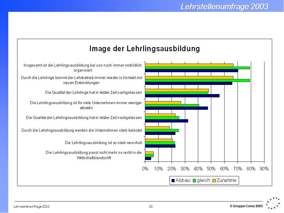 Lehrstellenumfrage 2003 © Gruppe Corso 2003 20