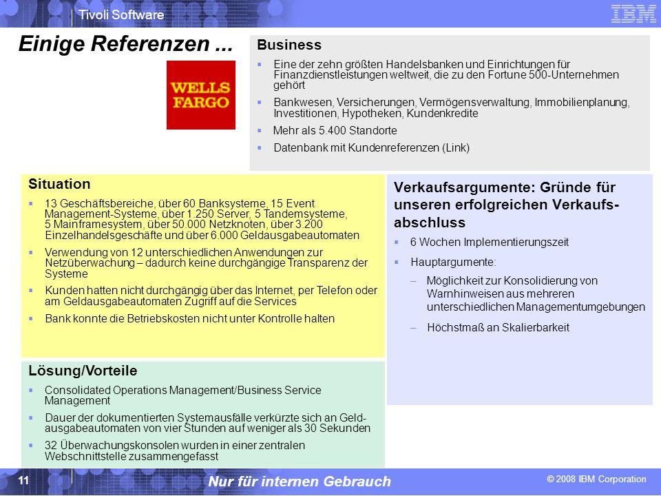 © 2008 IBM Corporation Tivoli Software Nur für internen Gebrauch 11 Einige Referenzen... Verkaufsargumente: Gründe für unseren erfolgreichen Verkaufs-
