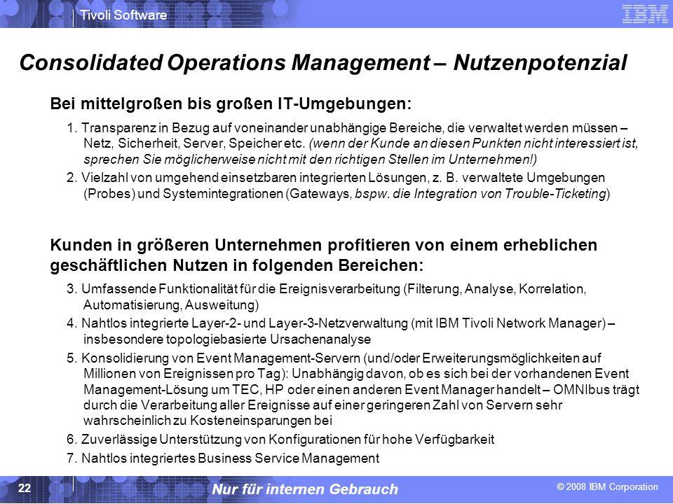 © 2008 IBM Corporation Tivoli Software Nur für internen Gebrauch 22 Consolidated Operations Management – Nutzenpotenzial Bei mittelgroßen bis großen I