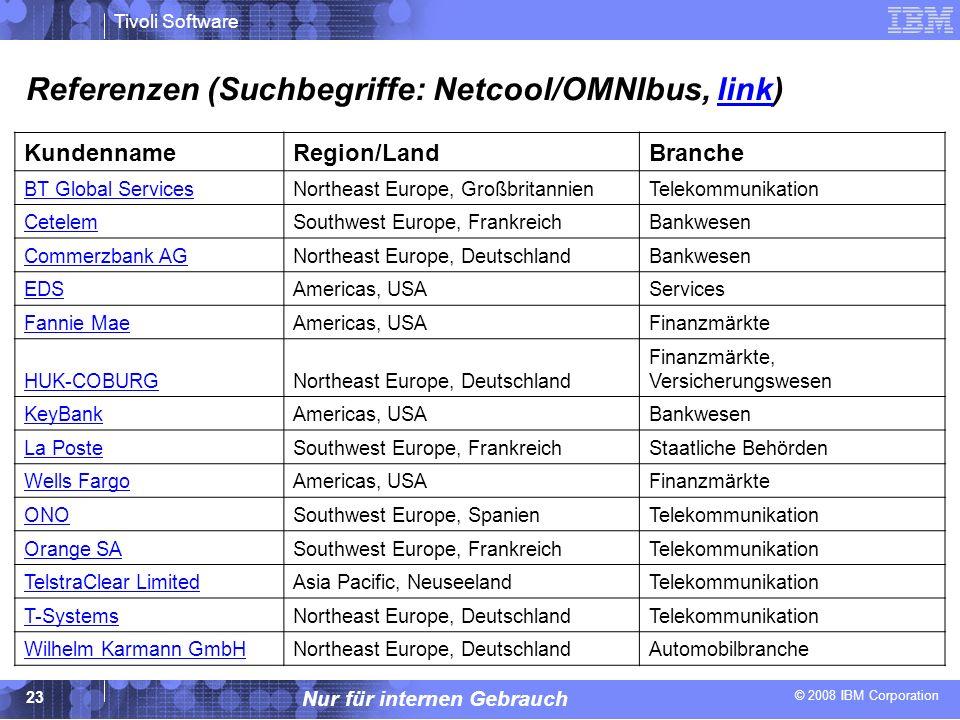 © 2008 IBM Corporation Tivoli Software Nur für internen Gebrauch 23 Referenzen (Suchbegriffe: Netcool/OMNIbus, link)link KundennameRegion/LandBranche