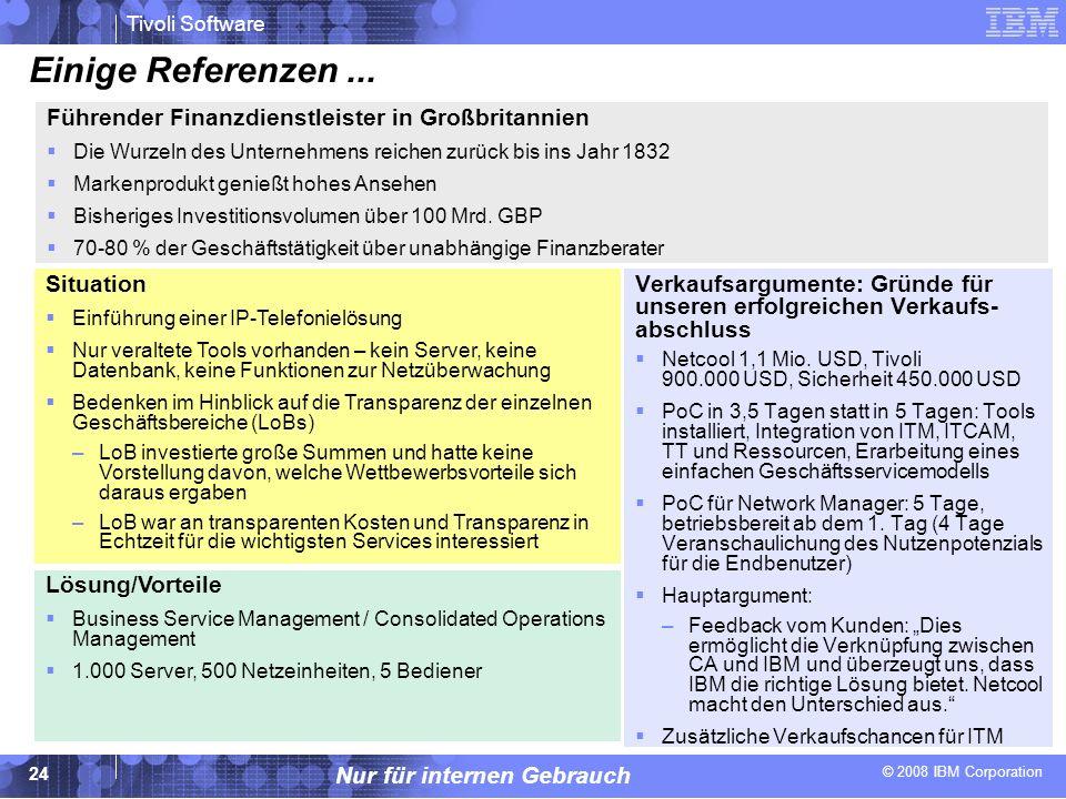 © 2008 IBM Corporation Tivoli Software Nur für internen Gebrauch 24 Einige Referenzen... Verkaufsargumente: Gründe für unseren erfolgreichen Verkaufs-