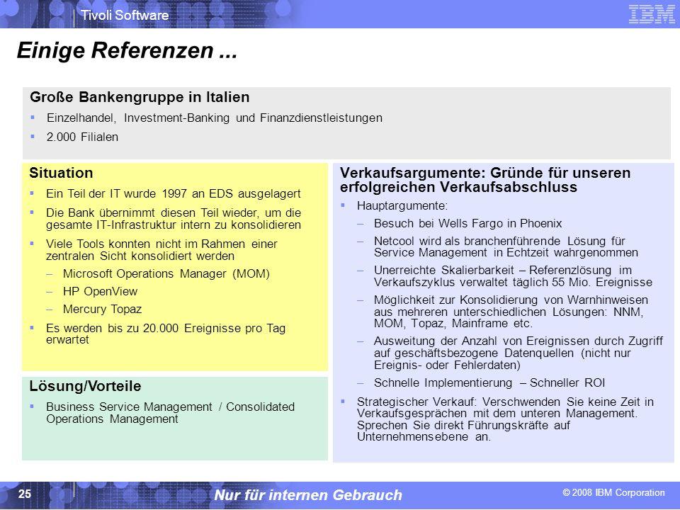 © 2008 IBM Corporation Tivoli Software Nur für internen Gebrauch 25 Einige Referenzen... Verkaufsargumente: Gründe für unseren erfolgreichen Verkaufsa