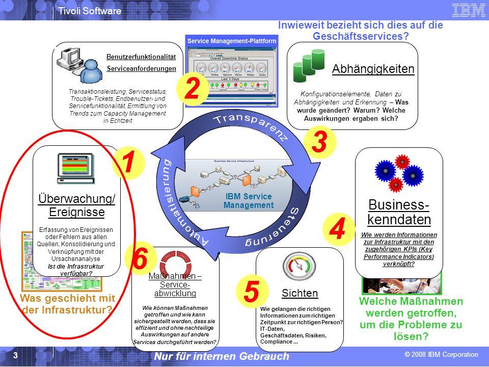 © 2008 IBM Corporation Tivoli Software Nur für internen Gebrauch 14 Gute Gründe für Verkaufsmaßnahmen - auf wesentliche Auslöser achten Fusionen und Übernahmen Überzeugende finanzielle Anreize zur schnellen Konsolidierung des IT-Supports Bedeutende politische, technische und finanzielle Heraus- forderungen im Zusammenhang mit der Konsolidierung von Lösungen unterschiedlicher Anbieter zur Domänenverwaltung* * Netcool/OMNIbus ermöglicht die umgehende Integration nahezu aller domänenspezifischer Management-Softwareprodukte, mit denen Ihre Kunden möglicherweise arbeiten.