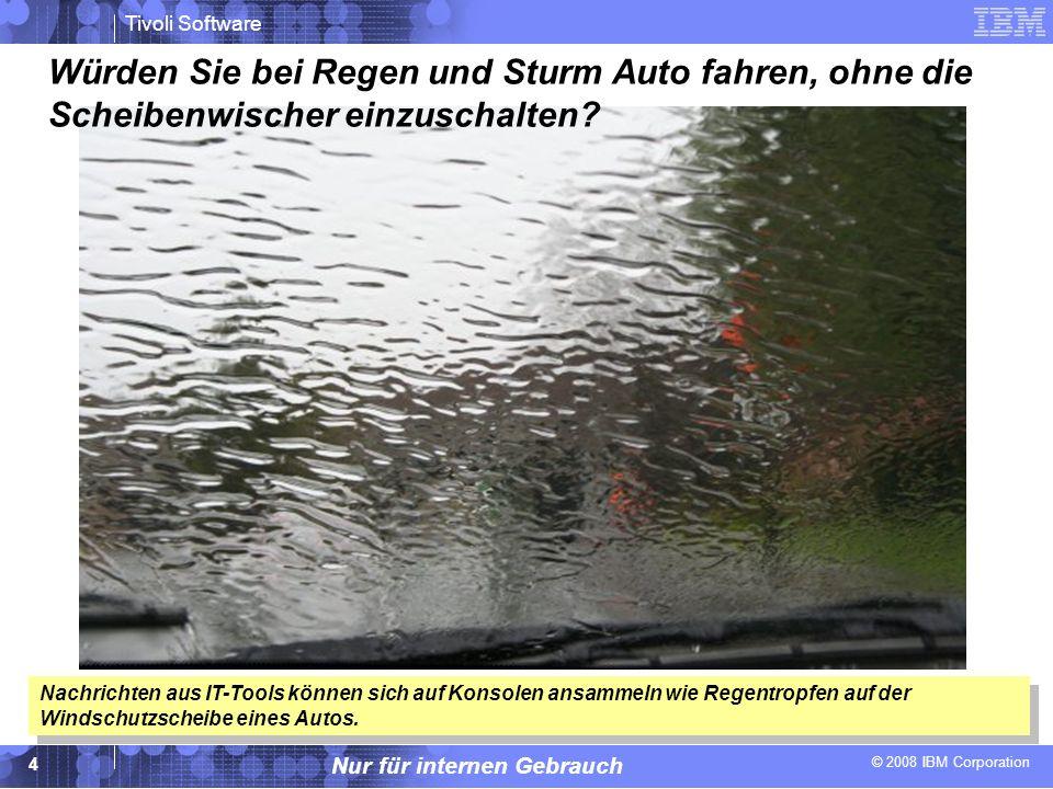 © 2008 IBM Corporation Tivoli Software Nur für internen Gebrauch 4 Würden Sie bei Regen und Sturm Auto fahren, ohne die Scheibenwischer einzuschalten?
