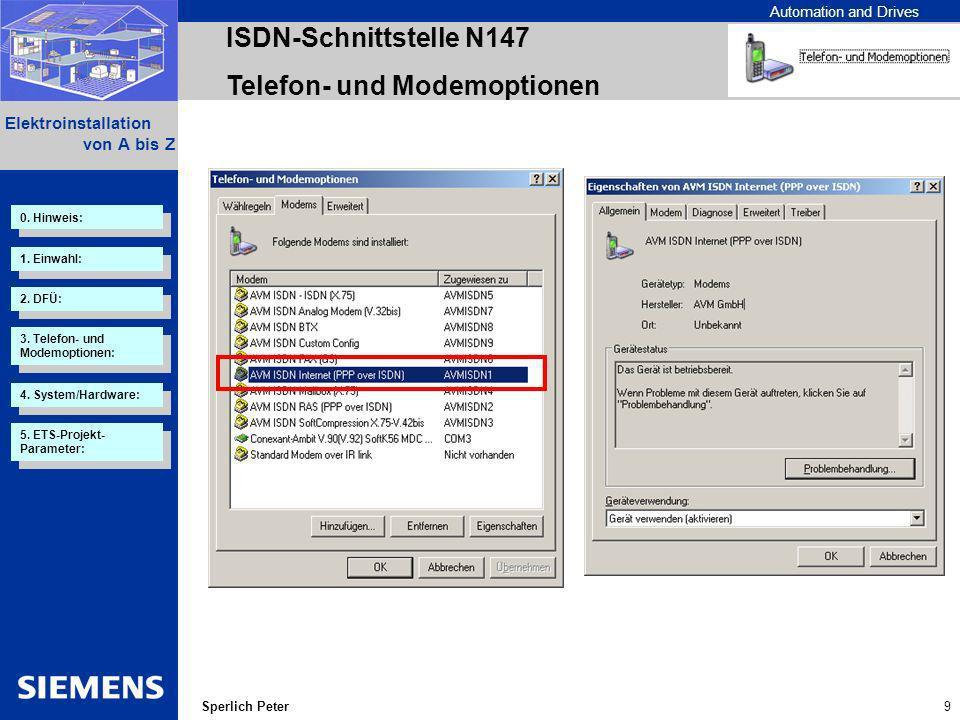Automation and Drives 10 Elektroinstallation von A bis Z Sperlich Peter ISDN-Schnittstelle N147 Telefon- und Modemoptionen 2.