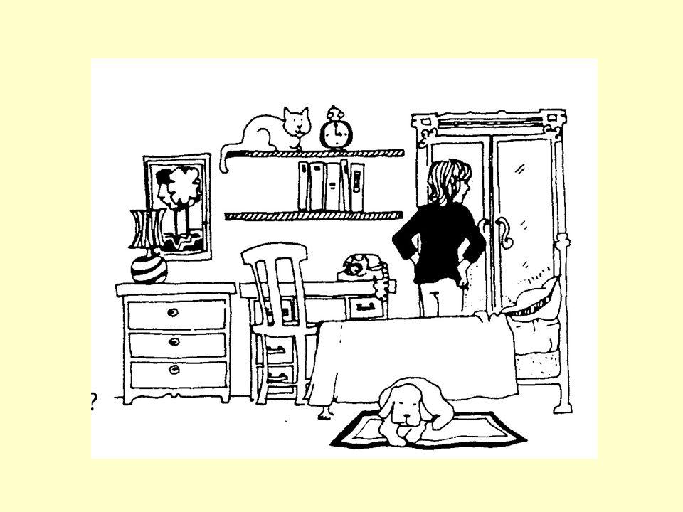 Steht die Frau vor dem Fenster.Liegt der Hund auf dem Bett.