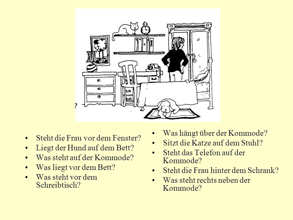 Steht die Frau vor dem Fenster? Liegt der Hund auf dem Bett? Was steht auf der Kommode? Was liegt vor dem Bett? Was steht vor dem Schreibtisch? Was hä
