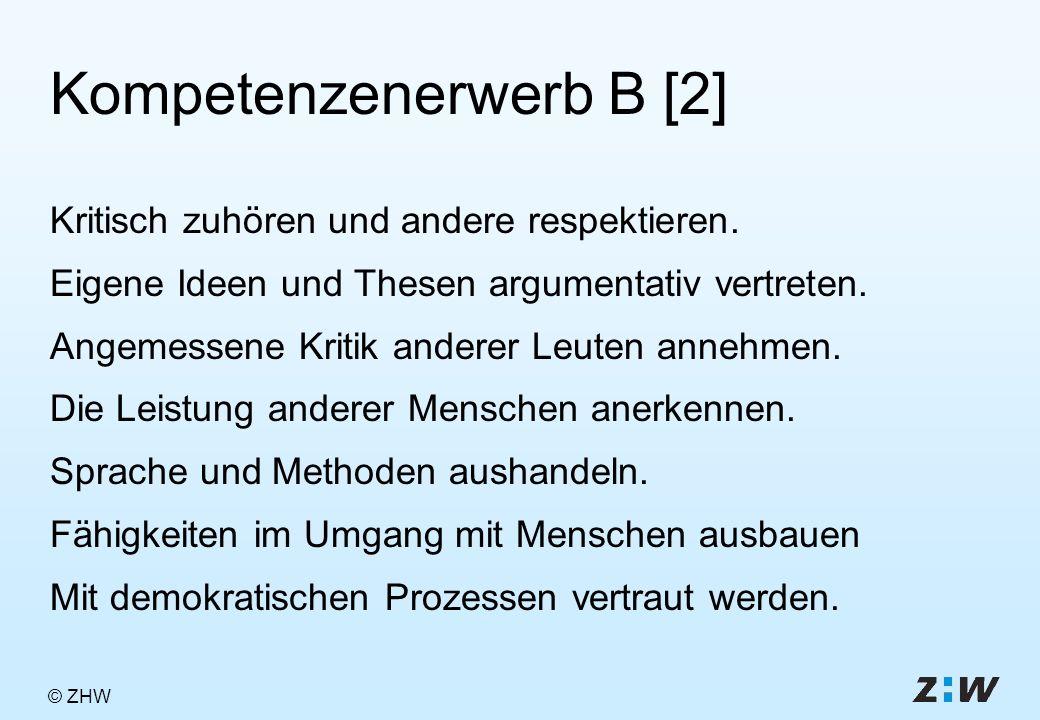 © ZHW Kompetenzenerwerb B [2] Kritisch zuhören und andere respektieren.