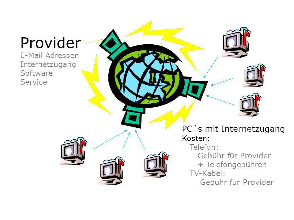 Provider E-Mail Adressen Internetzugang Software Service PC´s mit Internetzugang Kosten: Telefon: Gebühr für Provider + Telefongebühren TV-Kabel: Gebühr für Provider