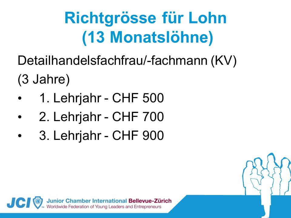 Richtgrösse für Lohn (13 Monatslöhne) Detailhandelsfachfrau/-fachmann (KV) (3 Jahre) 1. Lehrjahr - CHF 500 2. Lehrjahr - CHF 700 3. Lehrjahr - CHF 900