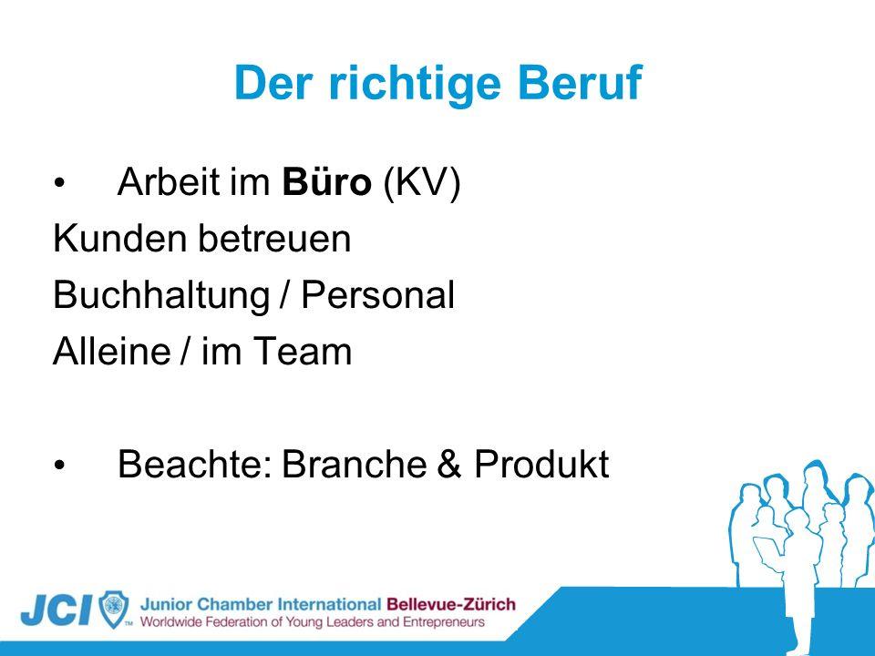 Der richtige Beruf Arbeit im Büro (KV) Kunden betreuen Buchhaltung / Personal Alleine / im Team Beachte: Branche & Produkt