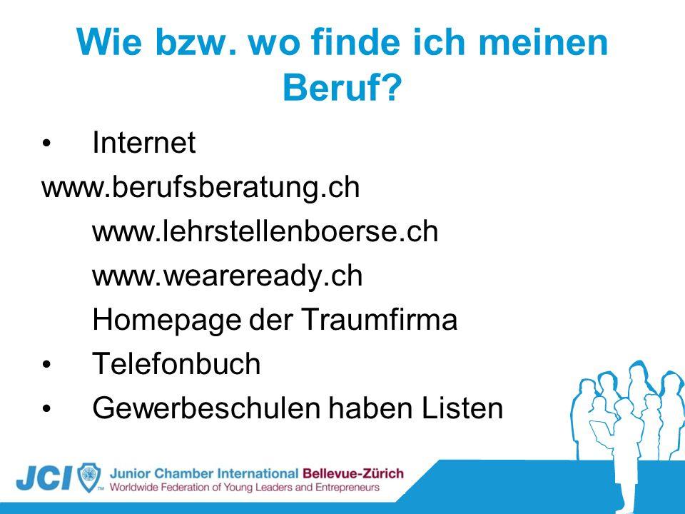 Wie bzw. wo finde ich meinen Beruf? Internet www.berufsberatung.ch www.lehrstellenboerse.ch www.weareready.ch Homepage der Traumfirma Telefonbuch Gewe