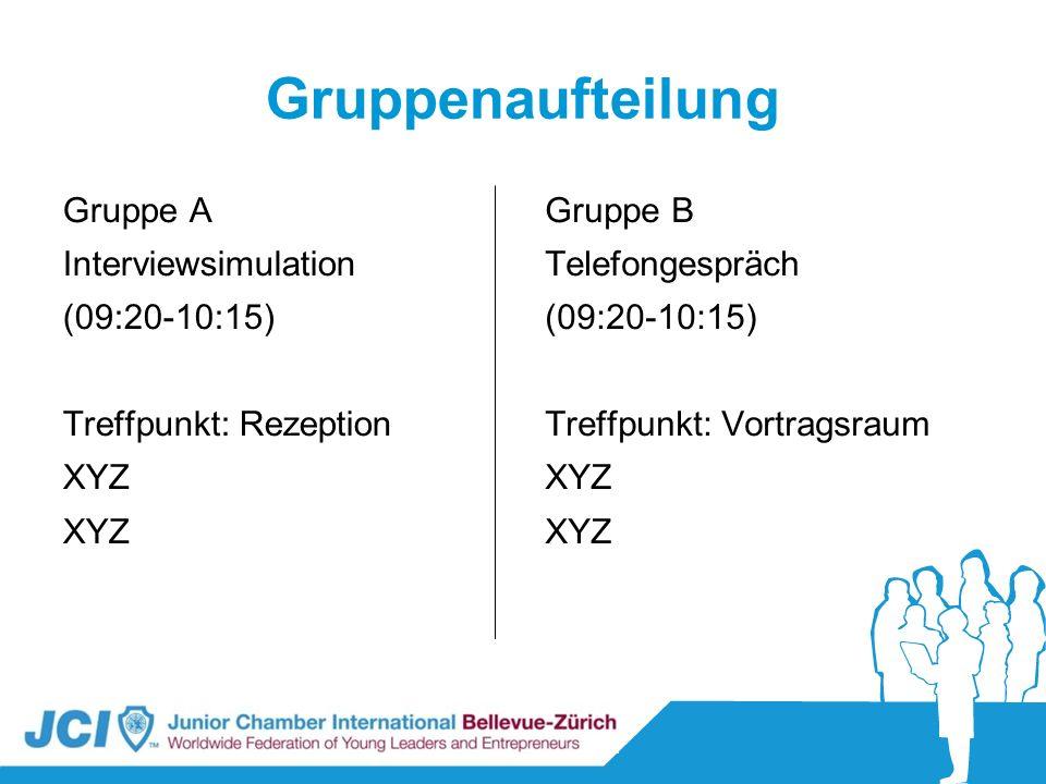 Gruppenaufteilung Gruppe A Interviewsimulation (09:20-10:15) Treffpunkt: Rezeption XYZ Gruppe B Telefongespräch (09:20-10:15) Treffpunkt: Vortragsraum
