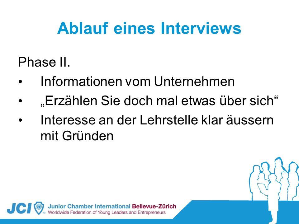 Ablauf eines Interviews Phase II. Informationen vom Unternehmen Erzählen Sie doch mal etwas über sich Interesse an der Lehrstelle klar äussern mit Grü