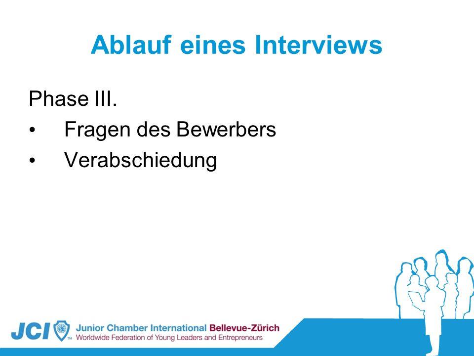 Ablauf eines Interviews Phase III. Fragen des Bewerbers Verabschiedung