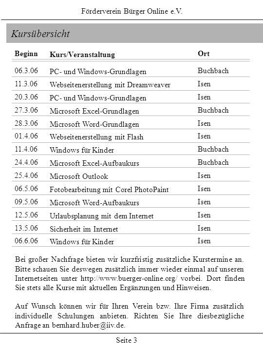 Förderverein Bürger Online e.V. Seite 3 Kursübersicht Kurs/Veranstaltung PC- und Windows-Grundlagen Webseitenerstellung mit Dreamweaver PC- und Window