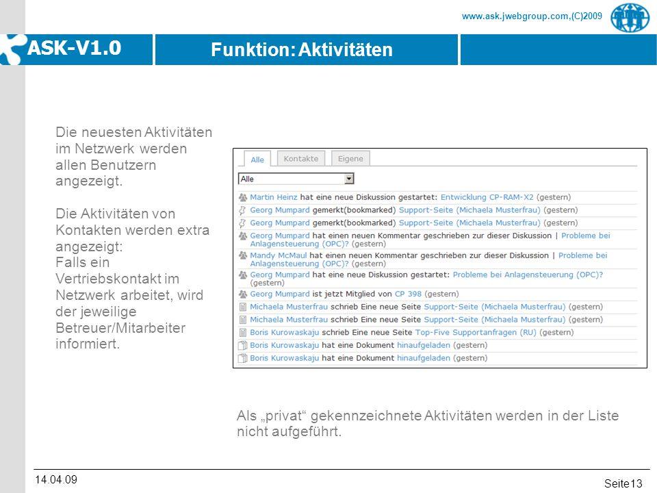 Seite www.ask.jwebgroup.com,(C)2009 ASK-V1.0 14.04.09 13 Die neuesten Aktivitäten im Netzwerk werden allen Benutzern angezeigt. Die Aktivitäten von Ko