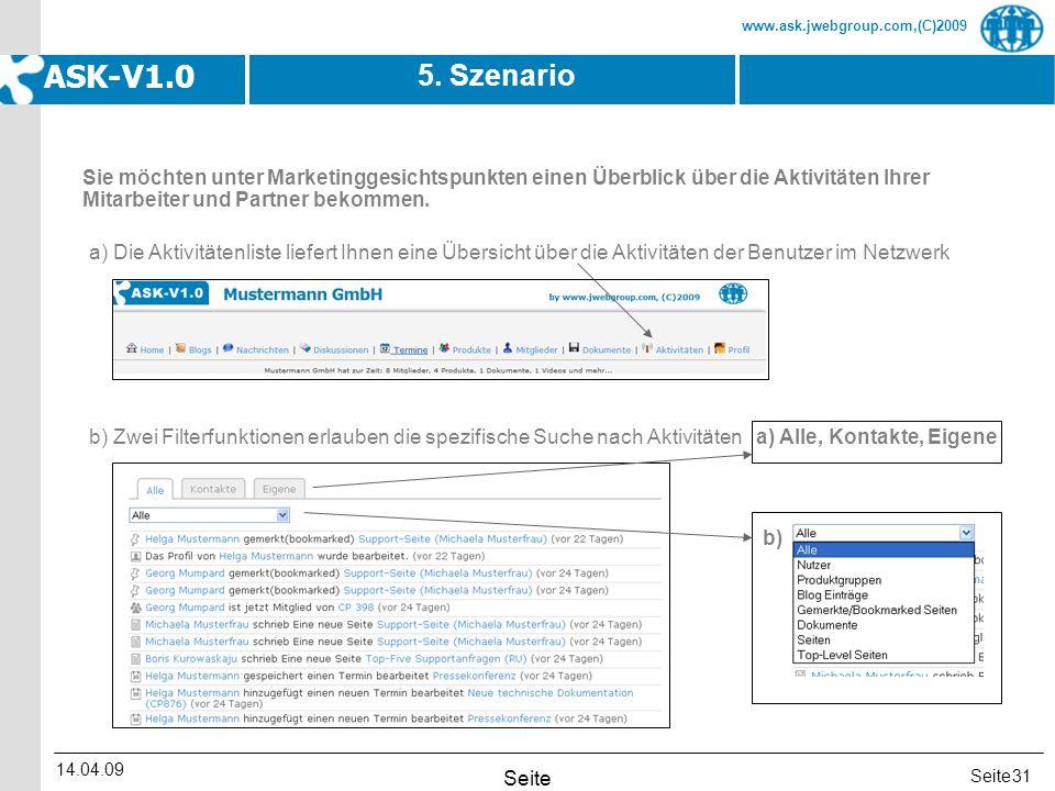 Seite www.ask.jwebgroup.com,(C)2009 ASK-V1.0 14.04.09 Seite 31 5. Szenario a) Die Aktivitätenliste liefert Ihnen eine Übersicht über die Aktivitäten d