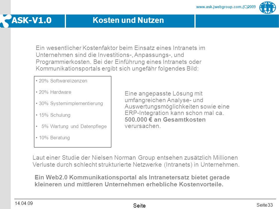 Seite www.ask.jwebgroup.com,(C)2009 ASK-V1.0 14.04.09 Seite 33 Ein wesentlicher Kostenfaktor beim Einsatz eines Intranets im Unternehmen sind die Inve