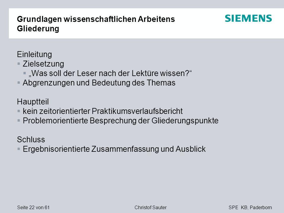 Seite 22 von 61SPE KB, PaderbornChristof Sauter Grundlagen wissenschaftlichen Arbeitens Gliederung Einleitung Zielsetzung Was soll der Leser nach der