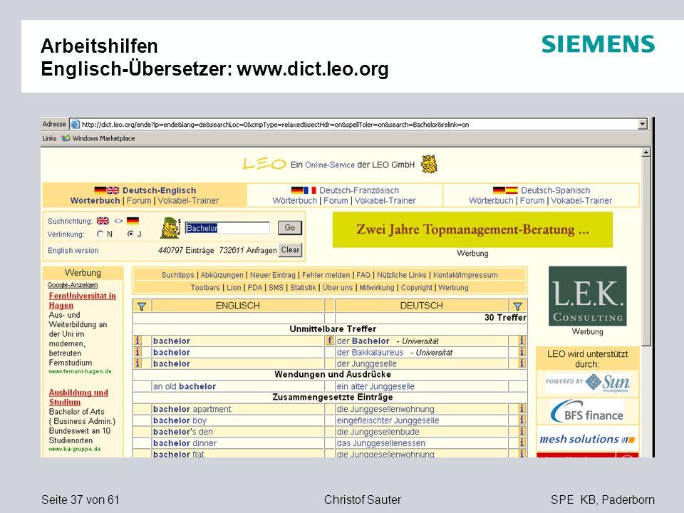 Seite 37 von 61SPE KB, PaderbornChristof Sauter Arbeitshilfen Englisch-Übersetzer: www.dict.leo.org