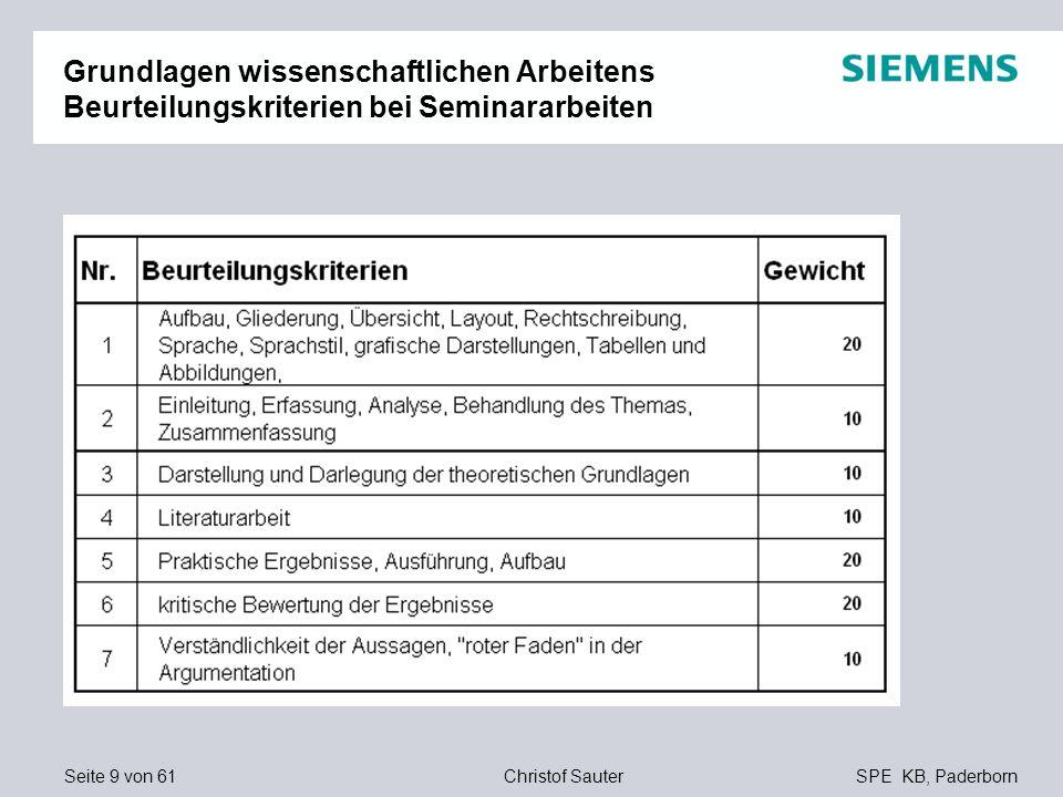Seite 9 von 61SPE KB, PaderbornChristof Sauter Grundlagen wissenschaftlichen Arbeitens Beurteilungskriterien bei Seminararbeiten
