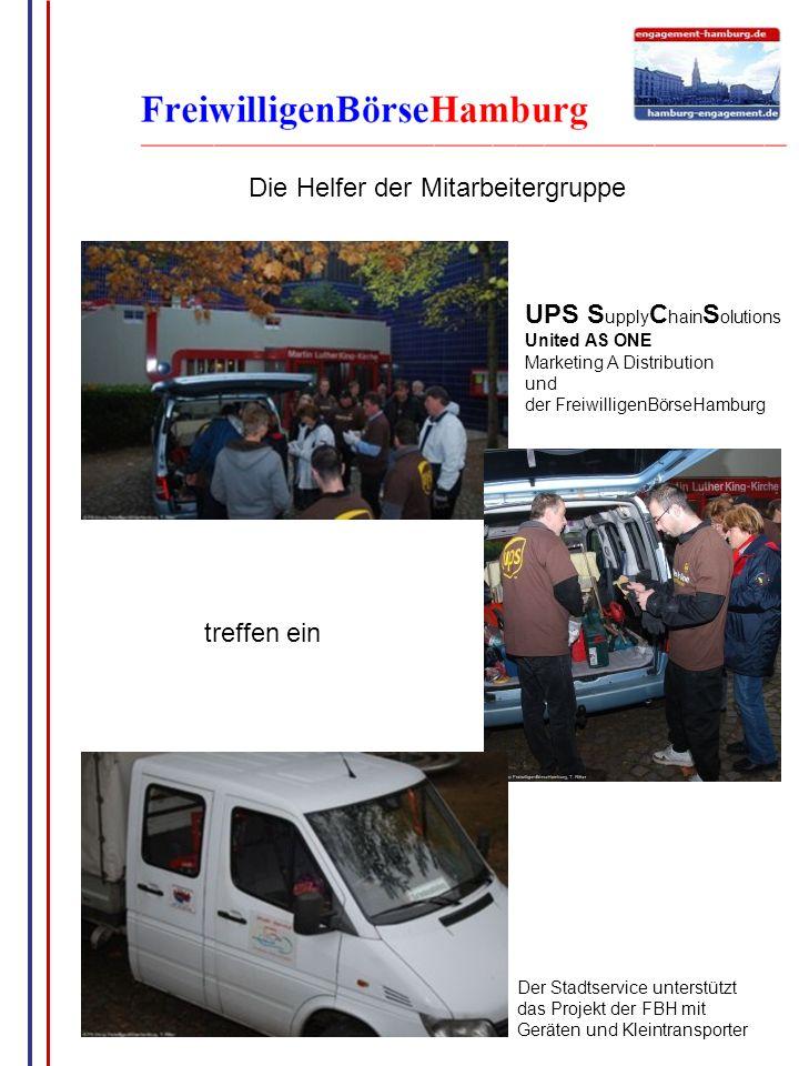 G.Wrage Die Helfer der Mitarbeitergruppe Der Stadtservice unterstützt das Projekt der FBH mit Geräten und Kleintransporter treffen ein UPS S upply C h