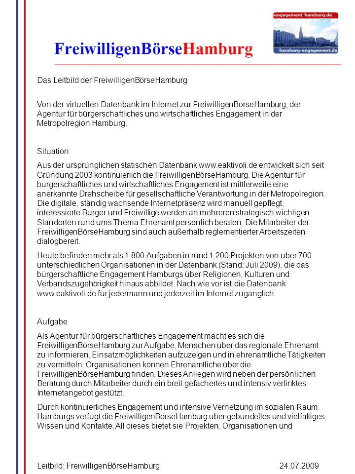 Das Leitbild der FreiwilligenBörseHamburg Von der virtuellen Datenbank im Internet zur FreiwilligenBörseHamburg, der Agentur für bürgerschaftliches un