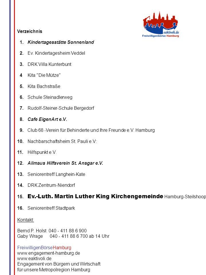 G.Wrage Verzeichnis 1.Kindertagesstätte Sonnenland 2.Ev. Kindertagesheim Veddel 3.DRK Villa Kunterbunt 4Kita
