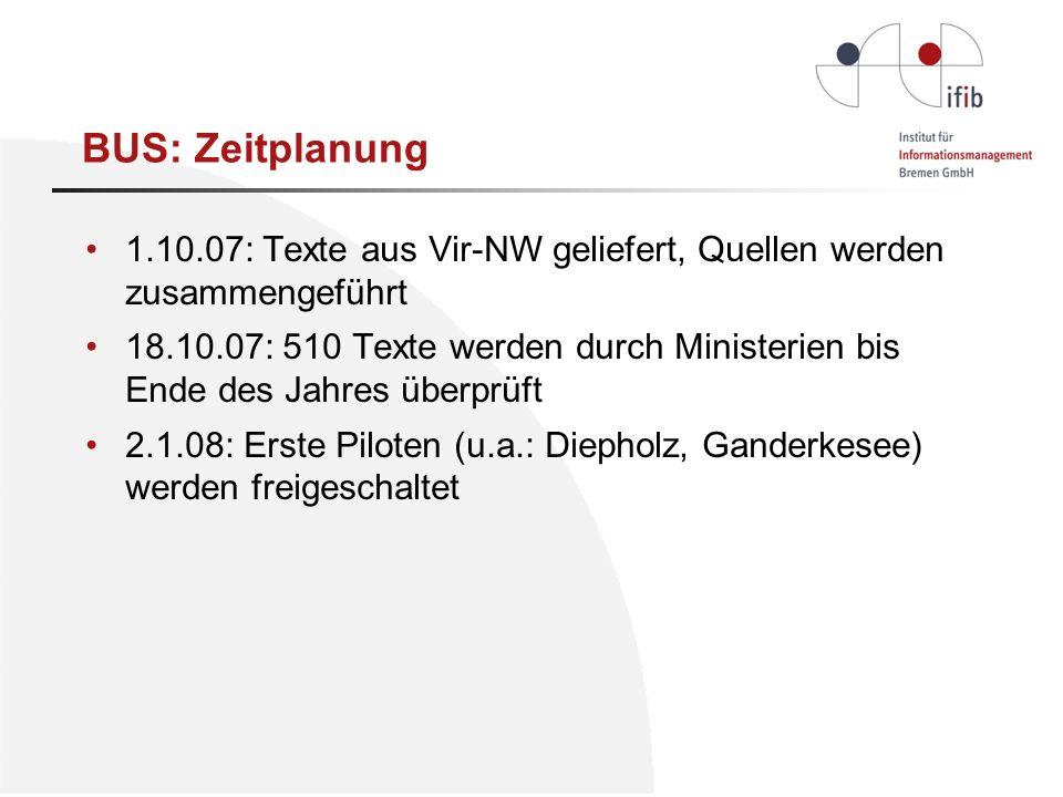 1.10.07: Texte aus Vir-NW geliefert, Quellen werden zusammengeführt 18.10.07: 510 Texte werden durch Ministerien bis Ende des Jahres überprüft 2.1.08: Erste Piloten (u.a.: Diepholz, Ganderkesee) werden freigeschaltet BUS: Zeitplanung