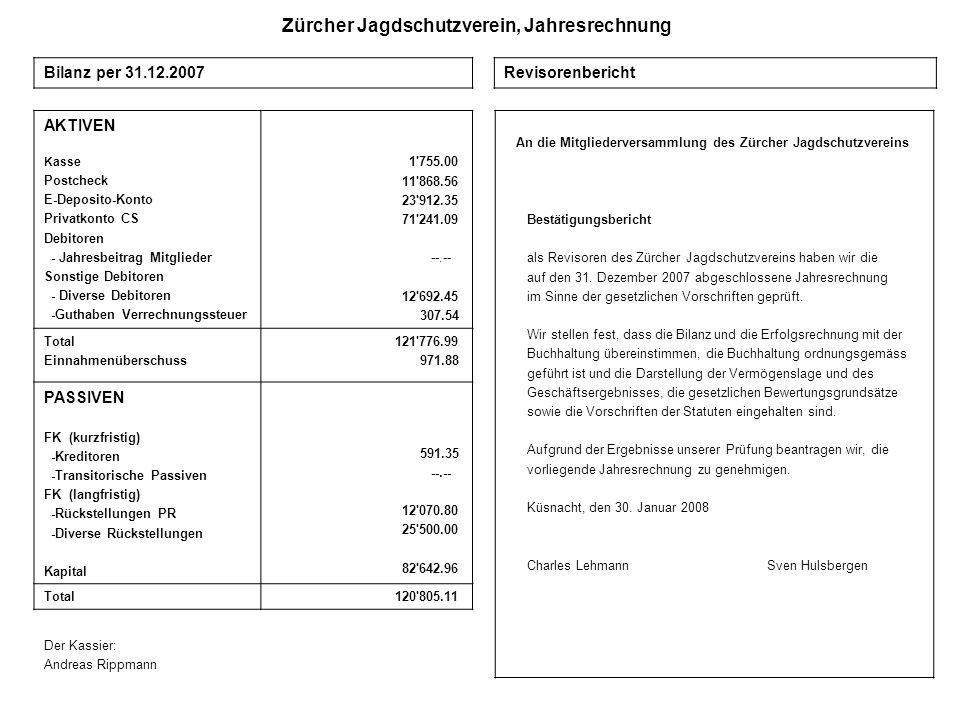 Zürcher Jagdschutzverein, Jahresrechnung AKTIVEN Kasse Postcheck E-Deposito-Konto Privatkonto CS Debitoren - Jahresbeitrag Mitglieder Sonstige Debitor