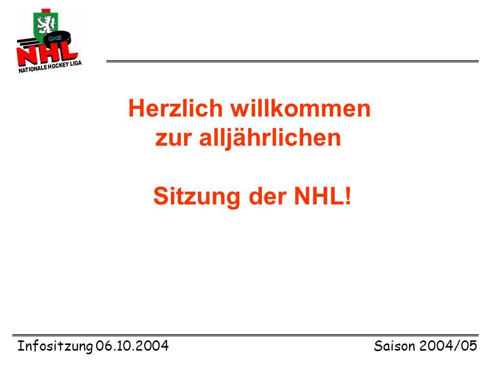 Infositzung 06.10.2004Saison 2004/05 Herzlich willkommen zur alljährlichen Sitzung der NHL!