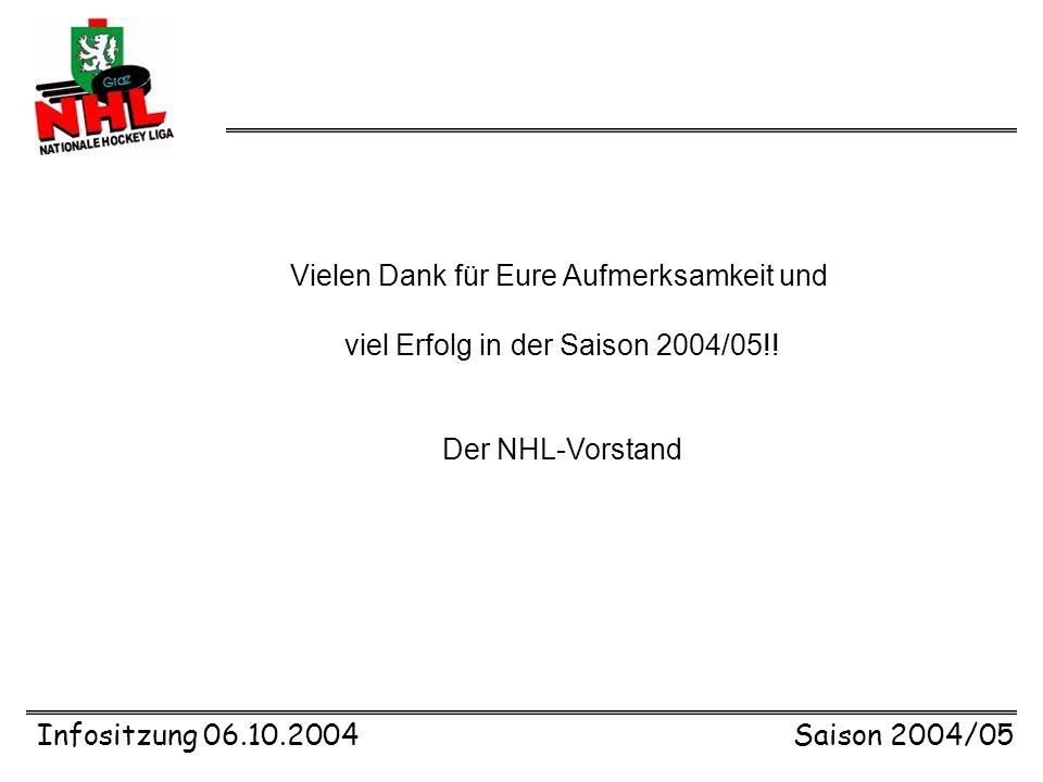 Infositzung 06.10.2004Saison 2004/05 10 Jahre NHL - Feier Abschluss Saison 2004/05: große Feier 10 Jahre NHL im SFZ (großer Saal) mit Rahmenprogramm und Siegerehrung Freitag, 18.