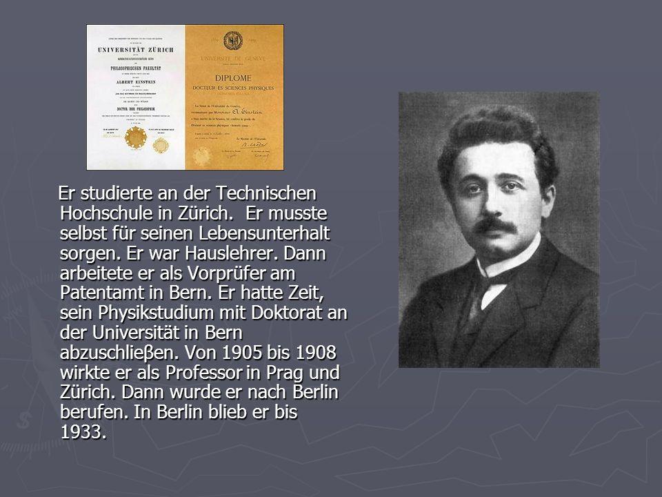 Er studierte an der Technischen Hochschule in Zürich. Er musste selbst für seinen Lebensunterhalt sorgen. Er war Hauslehrer. Dann arbeitete er als Vor